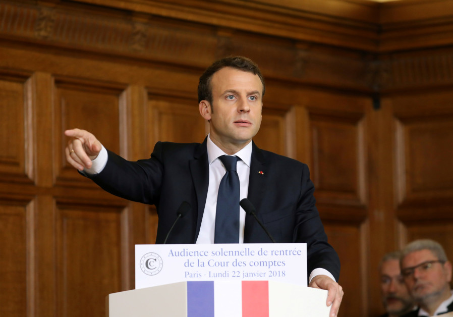 French President Emmanuel Macron delivers a speech during the Court of Auditors solemn hearing to ma