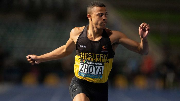 Sasha Zhoya sets new national record for the Boy's U18 110m hurdles (Pic: AAP)