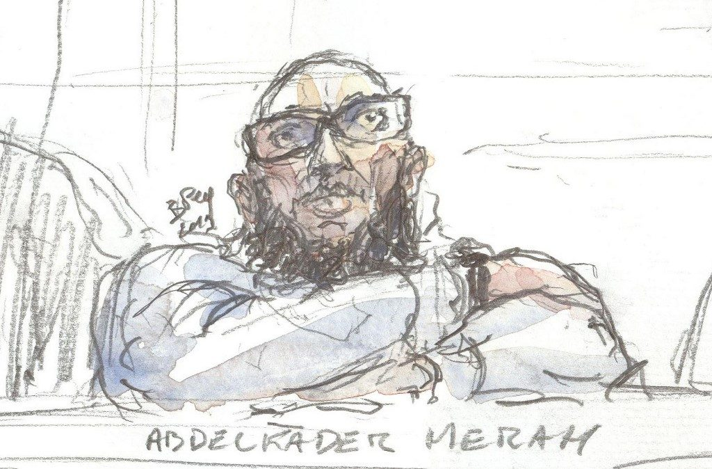 This file photo taken on March 25, 2019 shows a court sketch made at the Paris courthouse of Abdelkader Merah, the older brother and mentor of 2012 French shooter Mohamed Merah, during his appeal trial. - The Assise courthouse of Paris will rendered its verdict on April 18, 2019. Abdelkader Merah, accused of knowingly facilitating his brother Mohamed