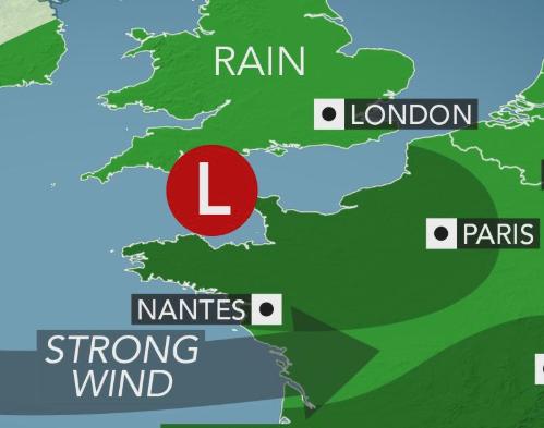 Tempête puissante apportant la pluie et le vent du Royaume-Uni vers la France et l'Allemagne en milieu de semaine