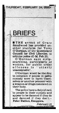 """Une coupure de journal du 24 février 2000 montre une lettre de """"Peter Dutton, Enoggera"""" sur les fouilles à nu."""