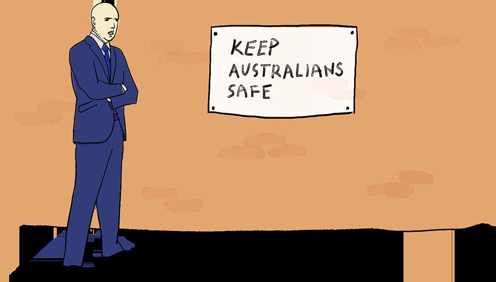 """L'illustration montre Peter Dutton debout à côté d'une affiche qui dit: """"Protégez les Australiens"""". Ses bras sont croisés"""