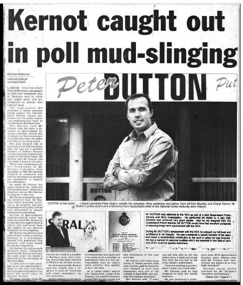 """Une coupure de presse montre un article intitulé """"Kernot pris au dépourvu par un sondage"""" avec une photo de Peter Dutton"""