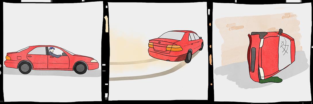 Une série d'illustrations montre Peter Dutton dans une voiture, une voiture en train de virer au coin de la rue et une voiture s'écraser contre un mur.