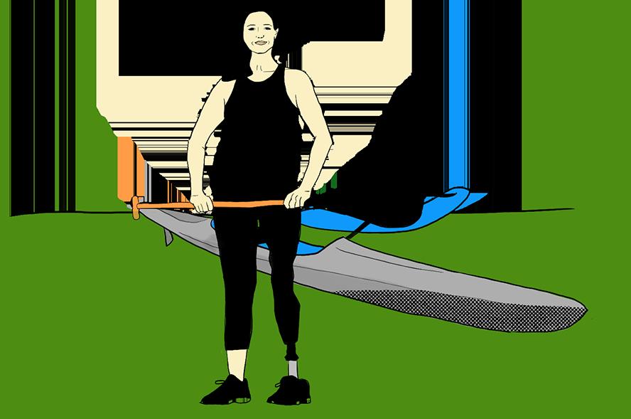Illustration d'Ali France en pirogue