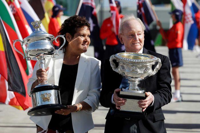 Evonne Goolagong-Cawley et Rod Laver à l'Open d'Australie