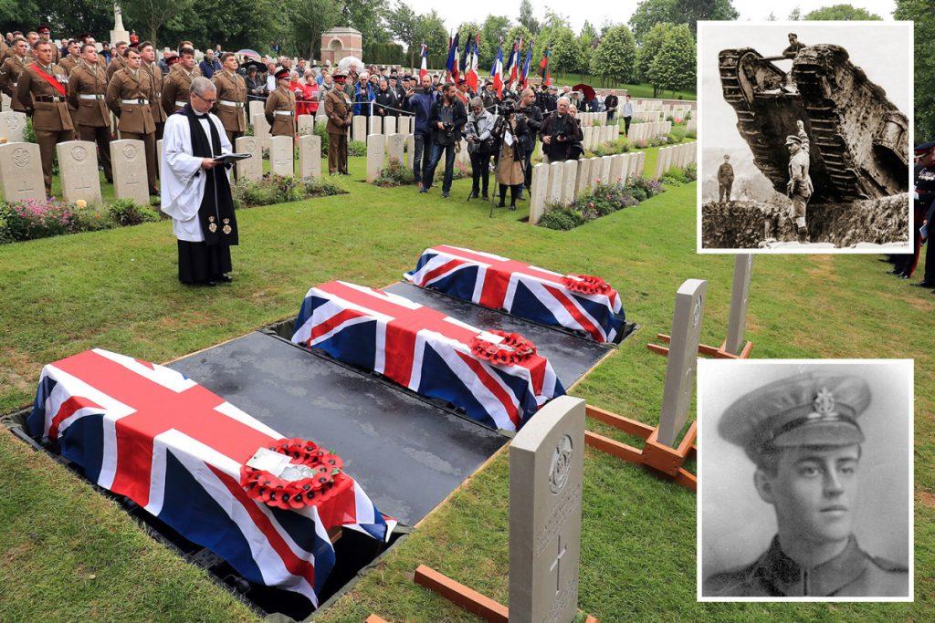 Trois soldats britanniques tués au cours de la Première Guerre mondiale sont finalement enterrés en France plus de 100 ans après leur mort